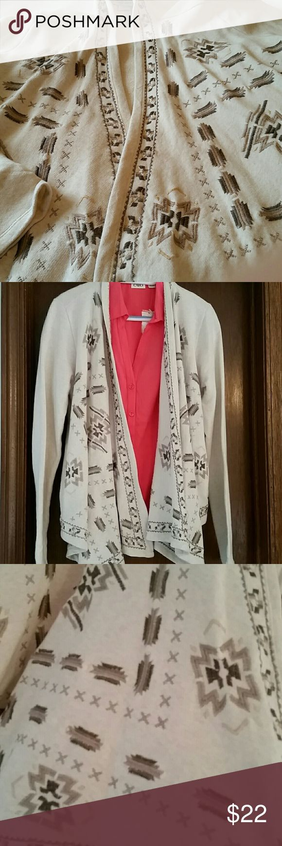 NWOT Aztec design neutral cardigan, M Washed but never worn. Seems a bit larger than a medium or could just be roomy. Not best for very short woman (me). Soft and so pretty. Lucky Brand Sweaters Cardigans