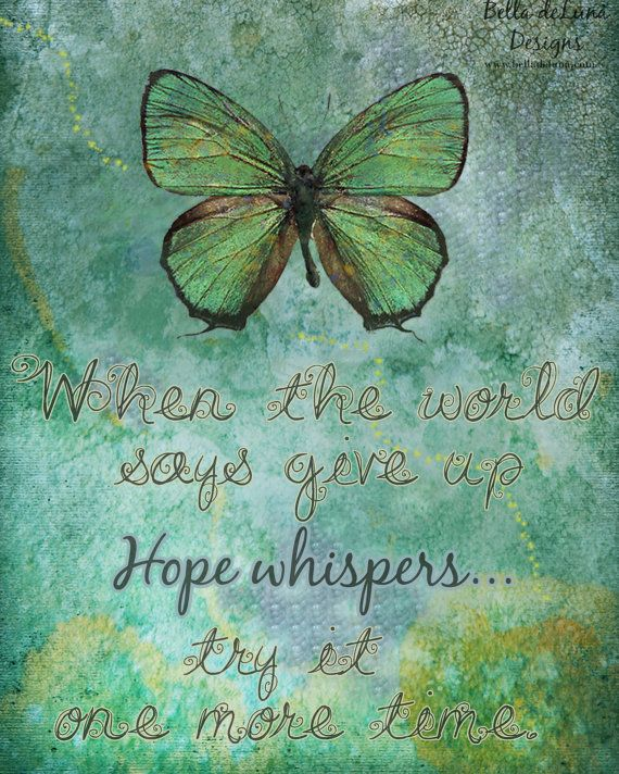 HOPE WHISPERS Inspirational Quote Butterfly Print 8x10 Healing Gift Art