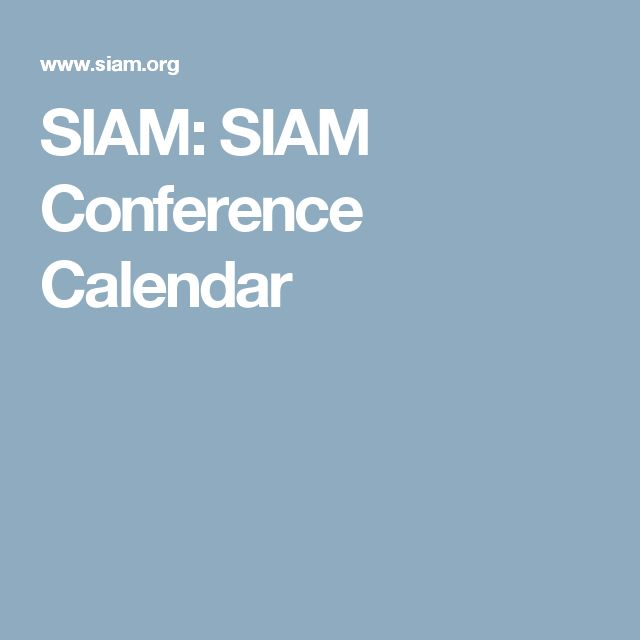 SIAM: SIAM Conference Calendar
