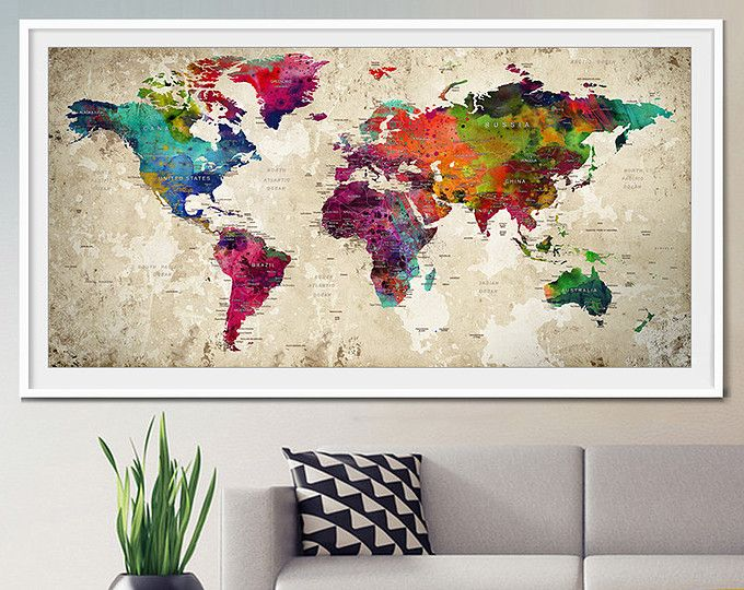 push pin weltkarte gro e push pin reisen weltkarte welt karte poster push pin reise karte. Black Bedroom Furniture Sets. Home Design Ideas