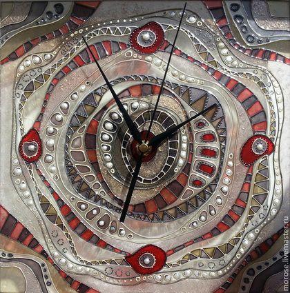 """Часы для дома ручной работы. Ярмарка Мастеров - ручная работа Часы """"Абстракция"""" бежево-кирпичные. Handmade."""