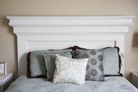 Use dentil moulding and crown moulding to create this gorgeous headboard from DIYer extraordinaire Ana White. #DIY #headboard