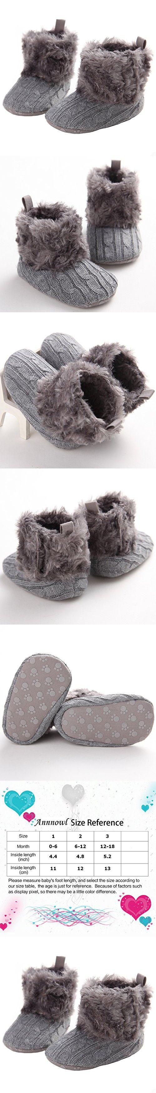 Annnowl Baby Girls Knit Soft Fur Winter Warm Snow Boots Crib Shoes 0-18 Months (0-6 Months, Gray)