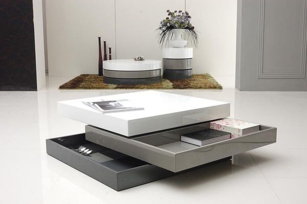 Table basse carrée LOOK Gris et Blanc prix promo Carrefour.fr 269.00 € TTC au lieu de 389.00 €