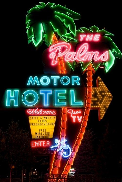 "This is a great ""antique"" sign for the Palms Motel. Sign-A-Rama can manufacture signs with an iconic feel. Visit us at www.ssar.com #BoulderInn"