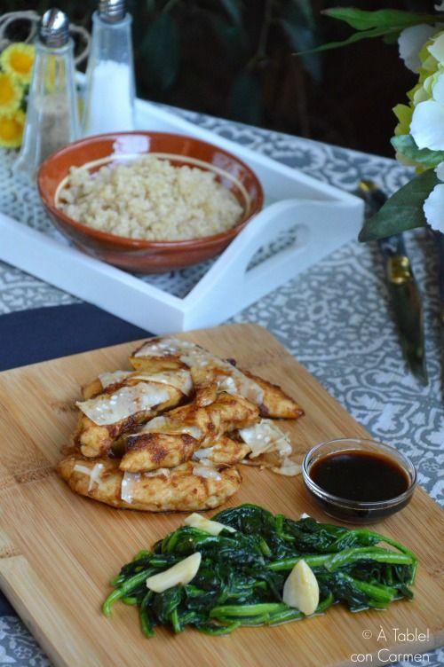 Pollo marinado con Espinacas salteadas, menú familiar de Massimo Bottura