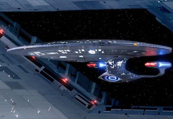 """The Starship Enterprise-D arriving at Starbase 74 in the Star Trek: TNG episode, """"11001001"""", remastered for Blu-ray .via Michael & Denise Okuda"""