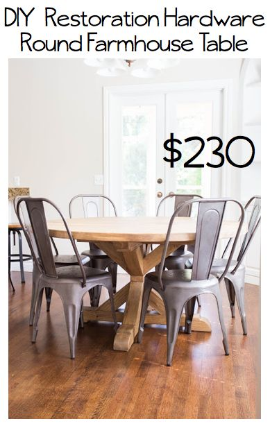 DIY Restoration Hardware Round Farmhouse Table and directions to make the perfect gray wash stain.