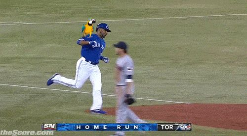 The magical parrot that helps designated hitter Edwin Encarnacion hit home runs.