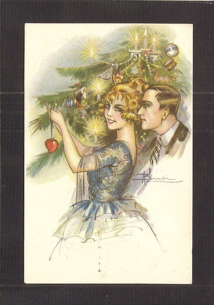 """POSTCARD:  SIGNED ADOLFO BUSI:  COUPLE TRIMMING CHRISTMAS TREE - Postmarks, 1922 $18.99. Italian Postcard showing an illustration of young couple trimming the Christmas Tree with Love. ------------- The artist was Adolfo Busi. This is an unmailed, standard-sized (3-1/2"""" x 5-1/2"""") divided-back postcard. 401378163083"""
