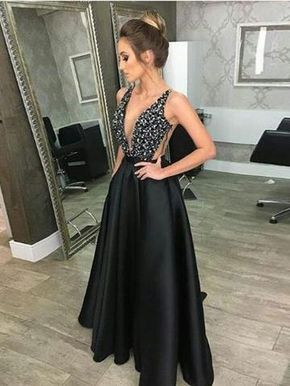 Fashion Deep V Neck Black Satin Long Prom Dresses Evening Gown Party Dress  With Pocket LD918 b34d0f391d06