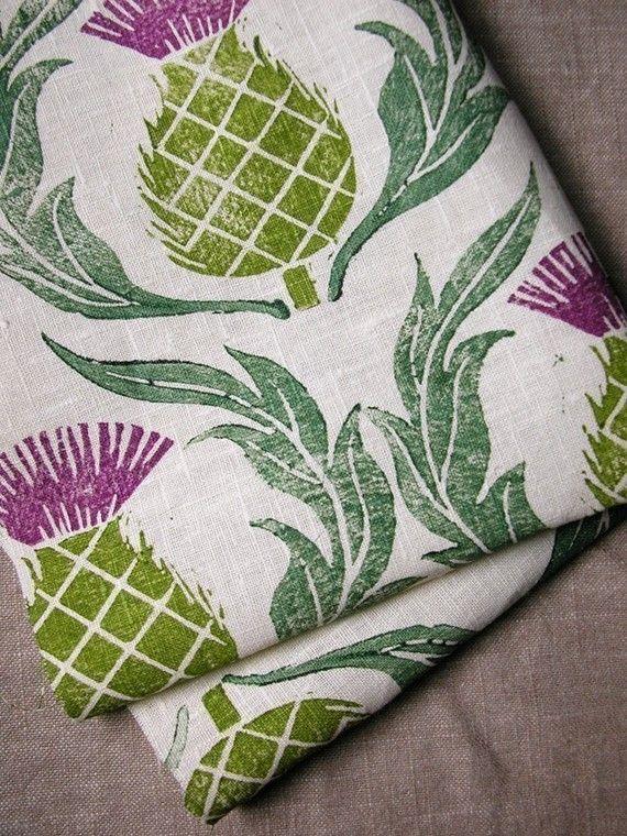 Rustic Scottish Thistle Hand Block Printed Linen Home Decor Tea Towel