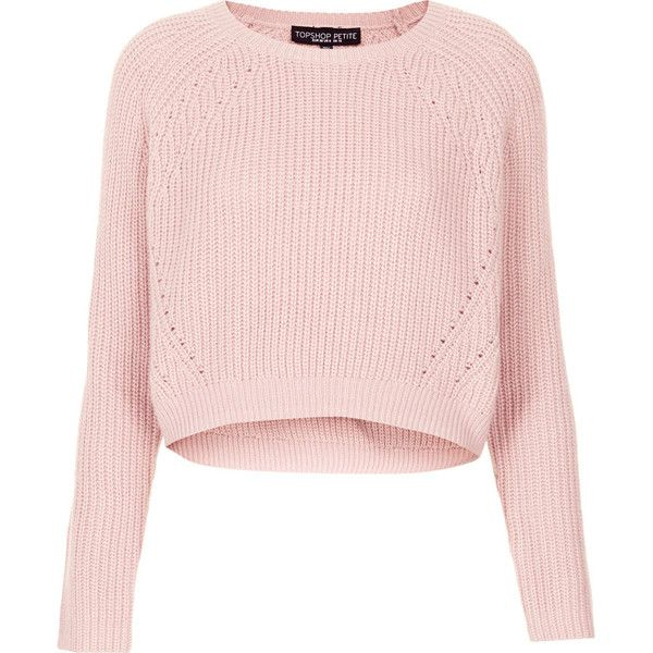 TOPSHOP Petite Ribbed Crop Jumper (€28) ❤ liked on Polyvore featuring tops, sweaters, shirts, jumpers, crop tops, pale pink, petite, topshop sweaters, pink sweater and pink crop top