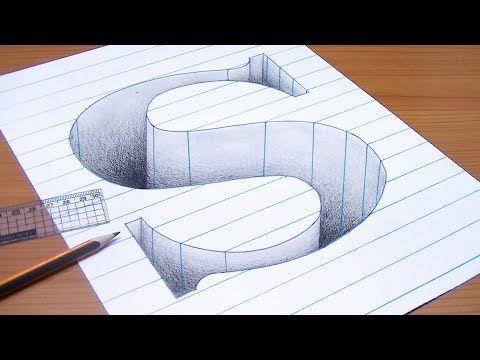 رسم حرف A ثري دي 3d محفور على الورقة خدع بصرية ثري دي Youtube Diy Art Painting 3d Art Drawing Illusion Drawings