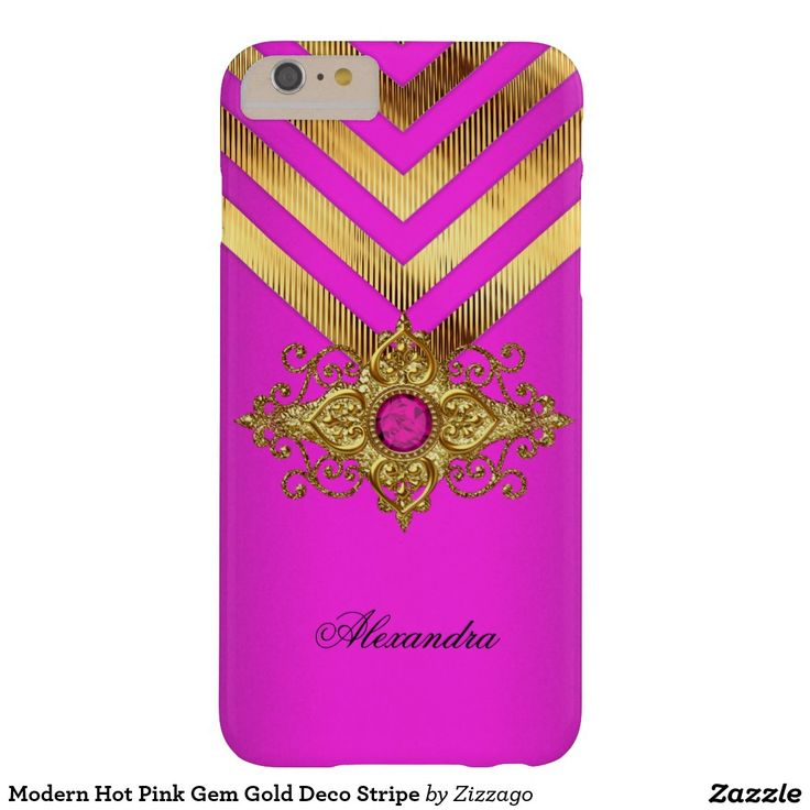 Modern Hot Pink Gem Gold Deco Stripe Barely There iPhone 6 Plus Case