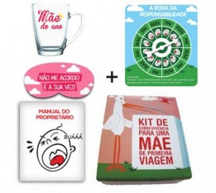 O kit de sobrevivência de uma mãe de primeira viagem é ideal para chá de bebê ou visita na maternidade!