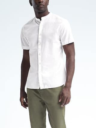 Grant-Fit Short-Sleeve Banded-Collar Shirt