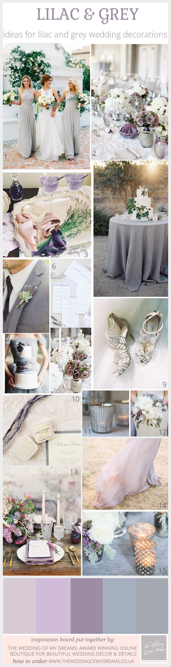 Chic Lilac And Grey Wedding Theme Inspiration