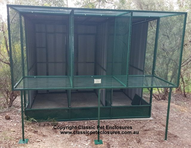 Suspended Aviary, 3 bays with a rear entrance lock section