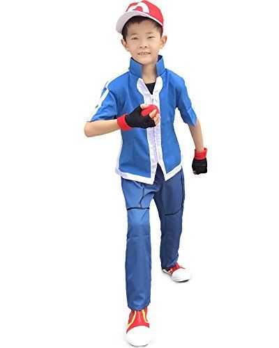 Miccostumes Boy's Pokemon Xy Ash Ketchum Cosplay Costume (Large, Blue) * Continue to the product at the image link.