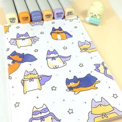 Sometimes the world needs a hero  #supercat #kawaii #cute #cat #superhero #doodle #copicmarkers #batcat #catman #sumikkogurashi