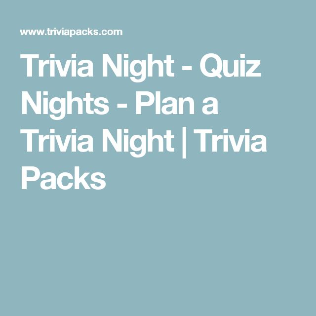Trivia Night - Quiz Nights - Plan a Trivia Night | Trivia Packs