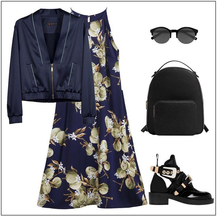 """Какую бы обувь ты не выбрала - каблуки или ботинки на низком ходу -платье всегда подчеркнёт твою женственность. А если планируешь гулять до самой ночи, то не забудь надеть к нему бомбер 😉⠀  Шелковое платье в бежевом, сером, мятном оттенках, и с принтом """"Лимоны"""" - 1199 грн⠀  Атласный бомбер в синем или сером цвете – 1699 грн⠀  #marsees #styleguide #lookoftheday #bomber #silkdress"""