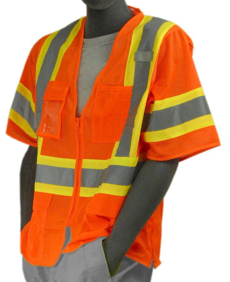 Majestic 753302 hi vis orange mesh safety vest ansi class
