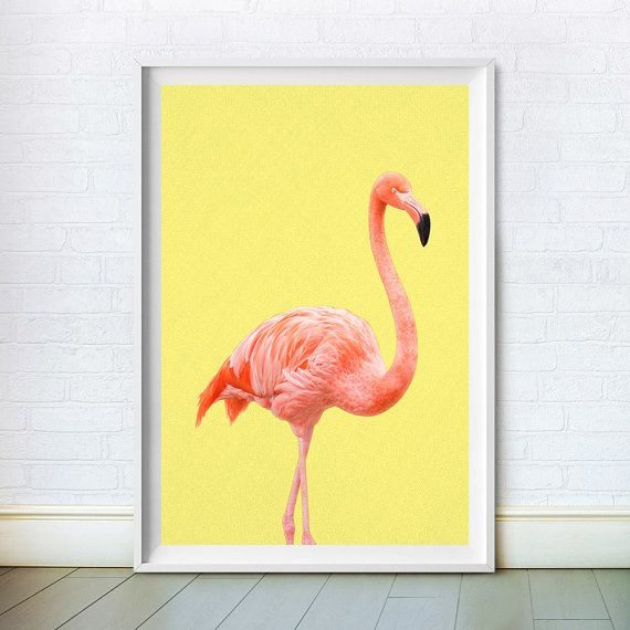 Mid Century Flamingo Wall Art Print by ChoosyArtDownload. Affordable nursery decor - instant nursery art that can be printed to a range of sizes to paper or canvas.