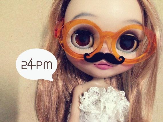 My Mustache  - Clear Orange Glasses. ฿447.28, via Etsy.