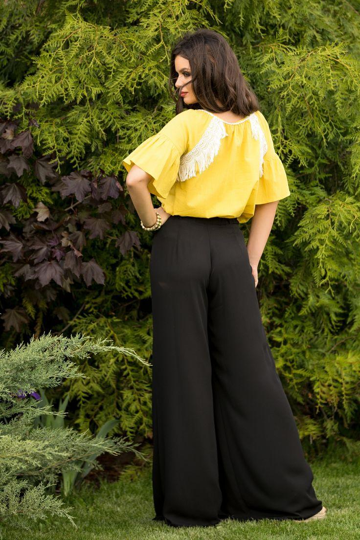 Bluza galbena cu franjuri | Madelia Fashion - Magazin online haine și rochii de damă