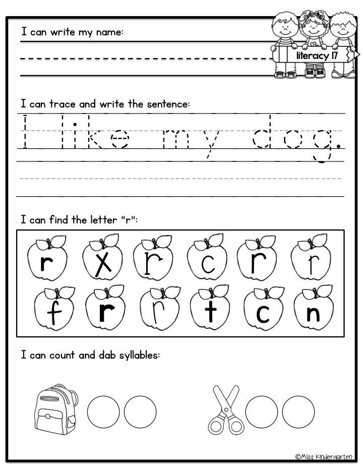 kindergarden writing sheets