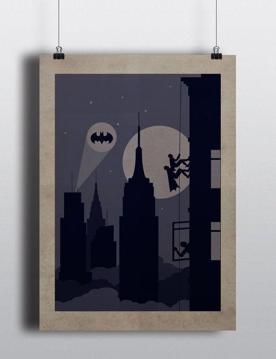 New York Batman Poster //  climbing wall Batman by SKYWORLDPROJECT
