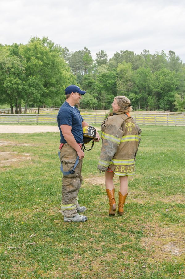 Love these fire department themed engagement photos by @crysreynsphoto Such a great idea for a #firefighter