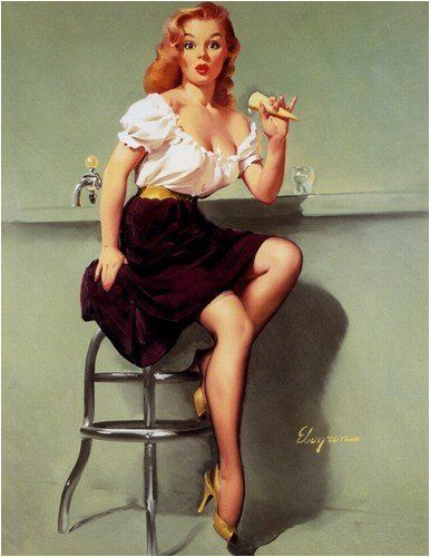 Pin-ups:  I love the classic images of vintage pin-up girls.The drawings are so detailed and sassy! When curvy girls ruled!