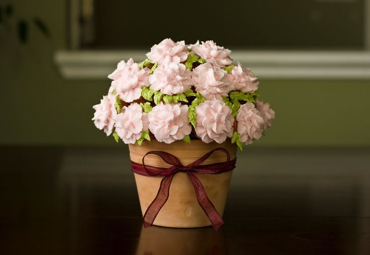 Mini cupcake begonia bouquet for my mom for Mothers Day.  She loved it!  Instructions from the Culinary Institute of America youtube tutorial.