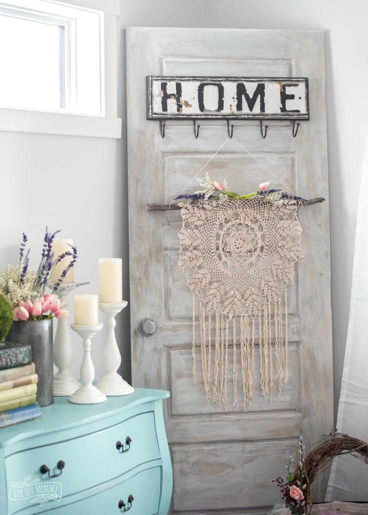 How to make a boho wall hanging from a thrifted doily