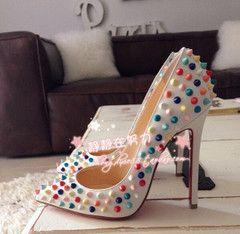 Официальный веб-сайт синхронизации новый цвет оранжевый заклепки указал обувь тонкий каблук обувь на высоких каблуках обувь прилив обувь торговля обувь