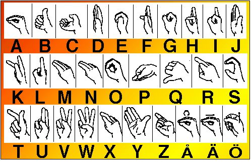The Swedish Manual Alphabet. The site has graphics for other manual systems, as well.