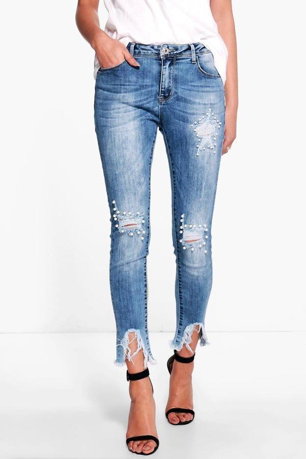 19ddc562b10e5 boohoo Penny Pearl Destroyed Hem Skinny Jeans  diyjeansdestroyed ...