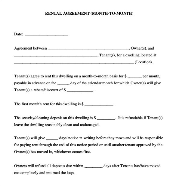Simple Rental Agreement Month To Month Rental Agreement Templates Lease Agreement Good Essay