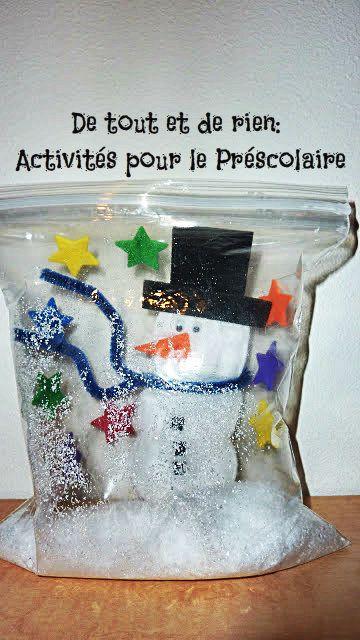 De tout et de rien: Activités pour le Préscolaire: Frosty the snowbag!