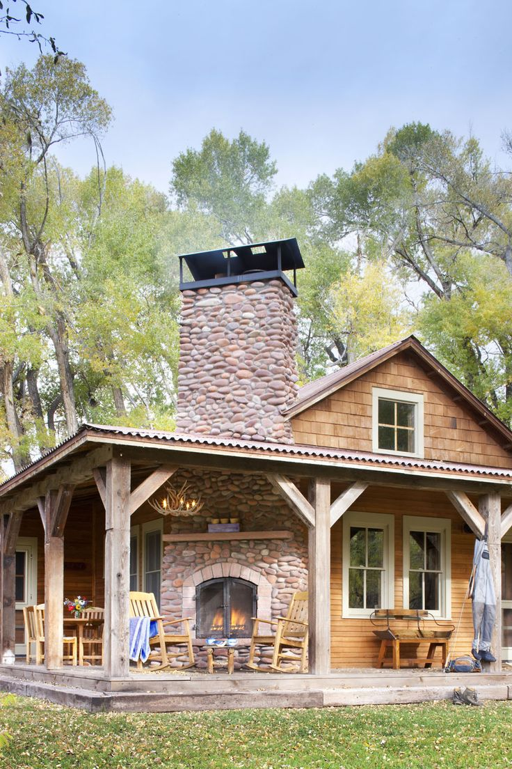 When They Found It The Ranch House Was Sagging Off A Loose Stone Foundation Double Fireplaceporch Fireplaceoutside Fireplacerustic