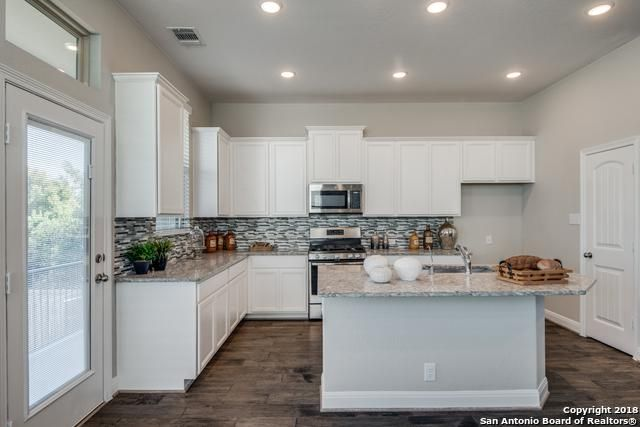 White Cabinets Warm Wood Floors Gray Granite Countertops Light