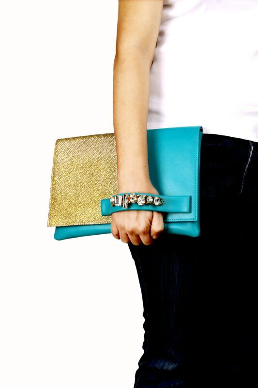 Green clutch with gold glitter pannel