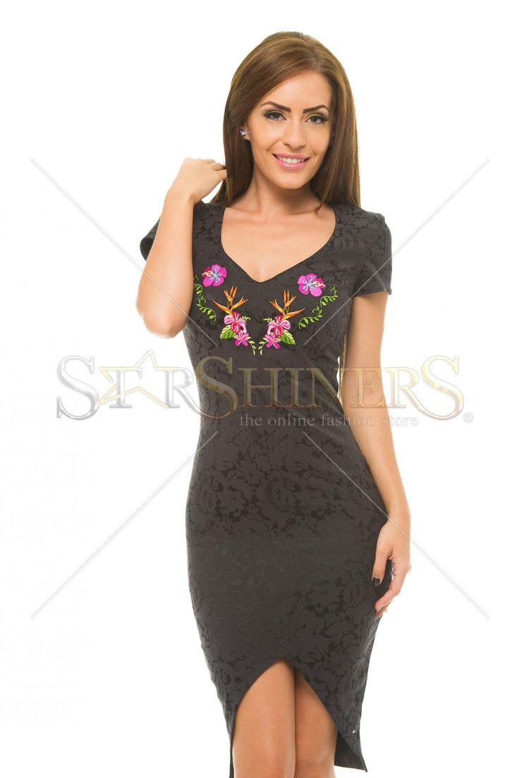 StarShinerS Embroidered Paraguay Black Dress