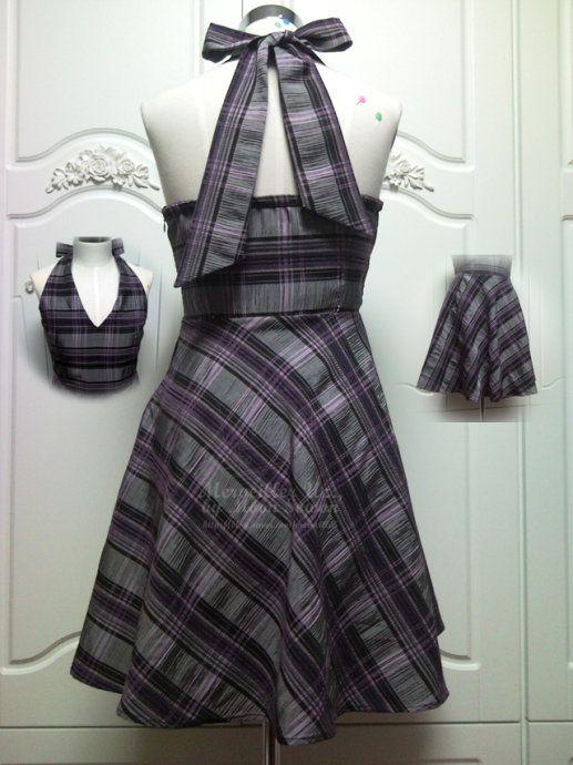 2 part Neckholder Dress - free Pattern and Tutorial - Bildanleitung und Schnitt