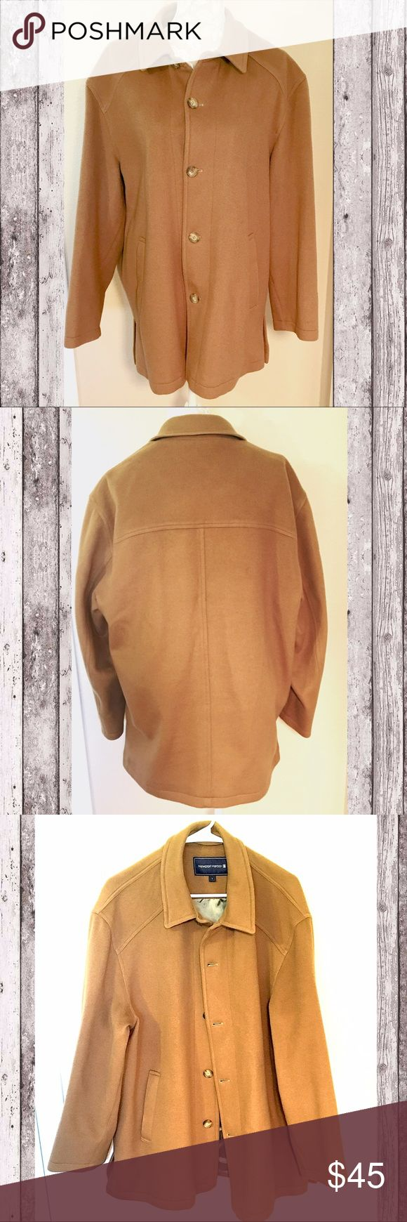 Men's Newport Harbor 100% Wool camel coat, EUC Men's Newport Harbor 100% wool coat in gorgeous camel color. Size Large. 100% poly lining, 3 inside pockets, 2 outside pockets. Front button closure, extra buttons attached near hem. EUC, like new, no damage, lining is perfect, smoke free home. #newportharbor #large #men #coat #jacket #wool #tan #camel #euc ❌no trades❌ Newport Harbor Jackets & Coats Pea Coats