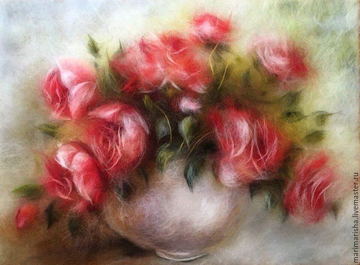 Купить Картина из шерсти Букет алых роз - комбинированный, картина из шерсти, живопись шерстью