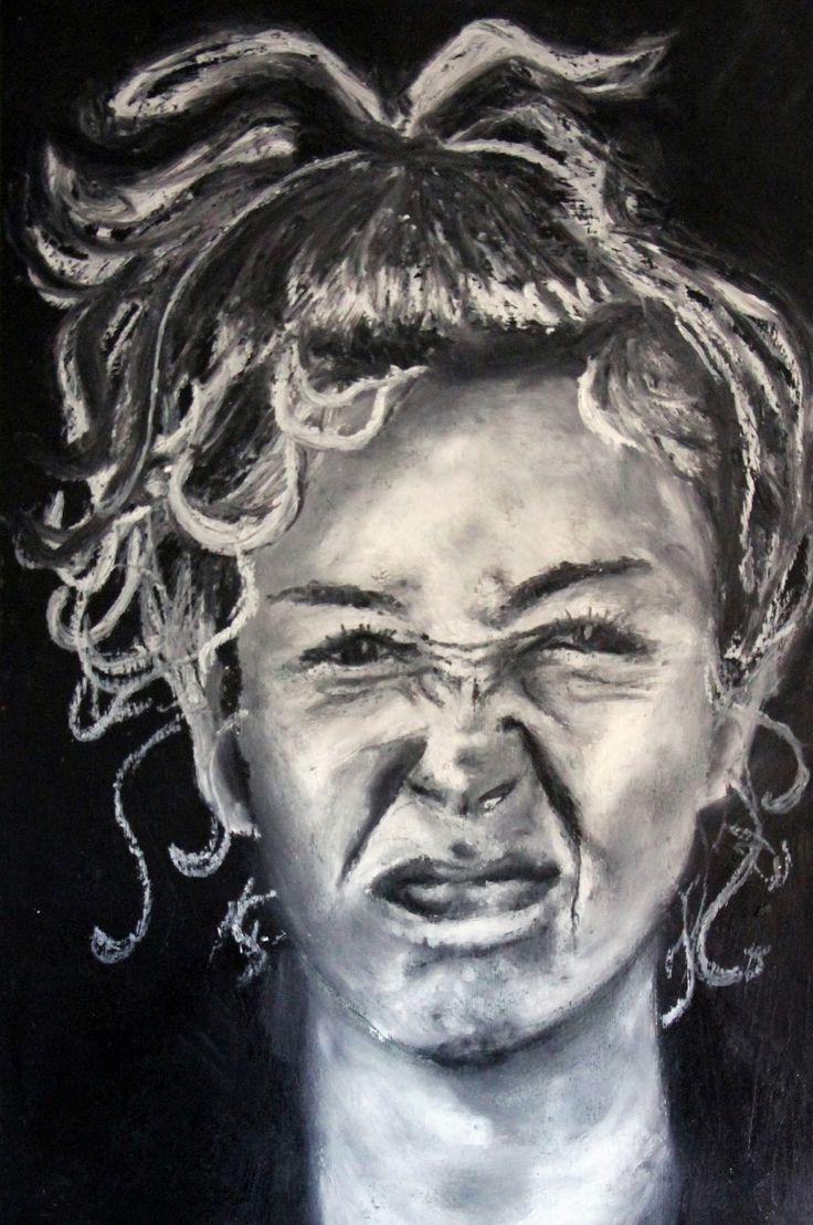 Francesca Cerutti illustratrice: periodo di pastelli a olio e autoritratti
